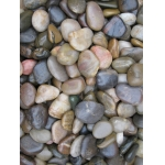 A mixed color polished pebbles